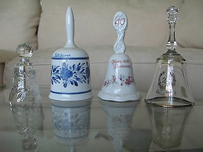 4 Pc Mixed LOT Crystal/ Porcelain Bells 25th/40th Anniversary Salzburg Nice EX