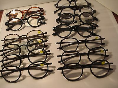 Lot 13 Pair Assorted Round Reading Glasses Readers Asst Powers  Sale