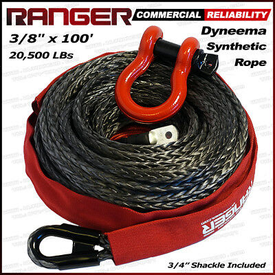 """Ranger 3/8"""" x 100' Durable Dyneema Synthetic Winch Rope Cable 20,500LBs Pro Kit"""
