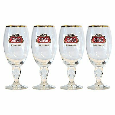 Stella Artois Chalice 33 CL Set Of four (4) Glasses Beer Pub Bar Pint glass  NEW