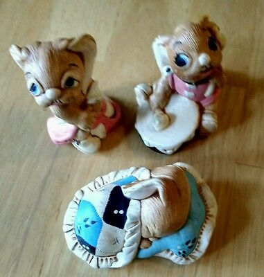 Collectible PENDELFIN lot of 3 Bongo, Totty, Snuggles Made in England, Vintage