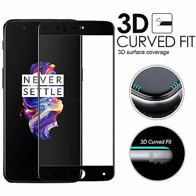 For OnePlus 5 One Plus 5 Full Curved 3D Tempered Glass Screen Protector - Black
