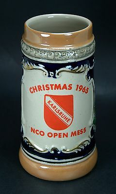 U.S. Army Germany Cold War Beer Stein - Karlsruhe Christmas 1965 NCO Open Mess