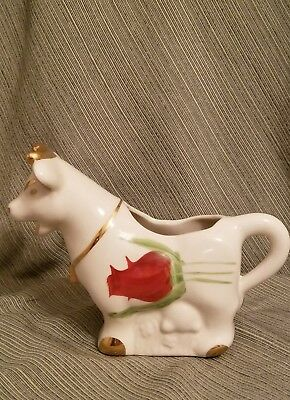 """Vintage 7"""" Cow Creamer Red Tulip flowers gold accents adorable farm animal"""