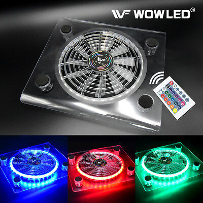 USB RGB LED Cooler Cooling Fan Pad Stand w/ Wireless Remote Controller for PS4