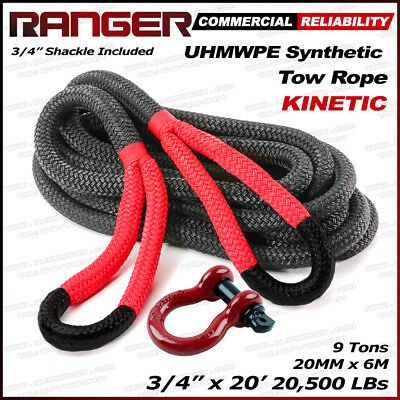"Ranger 3/4"" x 20' Commercial Reliability Kinetic Recovery Tow Rope 20,000 LBs"