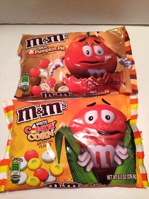 X 2 M&M's Halloween Pumpkin Pie & Candy Corn White Chocolate Bag Candy 8.0 oz