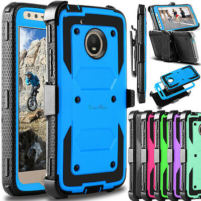 For Motorola Moto E4 2017 Shockproof Belt Clip Holster Kickstand Hard Case Cover