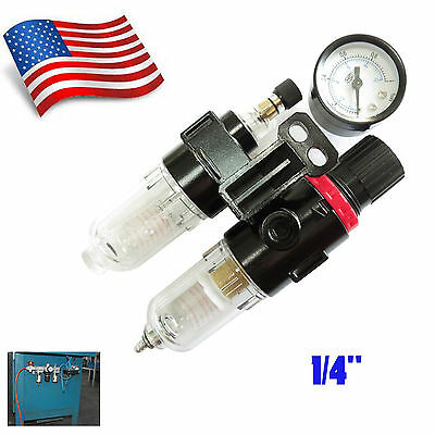 "1/4""Air Compressor Filter Moisture Water Oil Separator Trap Tool Regulator Gauge"