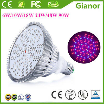 6W 10W 18W 24W 48W 90W LED Red Blue Plant Grow Light Bulb Lamp for Indoor Plant