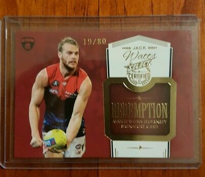 2017 Afl Select Certified Signature Guernsey Redemption Jack Watts Melbourne #19