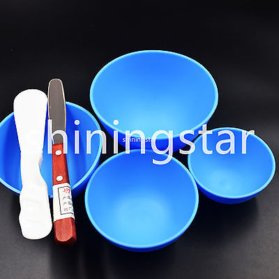 2 Pcs Dental Spatula &  4 Pcs S/M/L/XL Rubber Mixing Impression Alginate Bowls