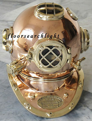 Nautical Collectible Brass & Copper Divers Diving Helmet U.s Navy Mark V