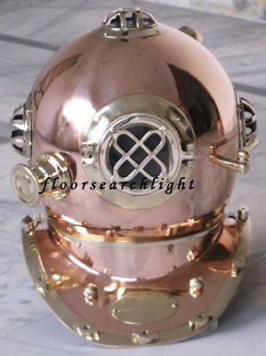 Collectible Nautical Shiny Brass & Copper Us Navy Deep Sea Divers Diving Helmet