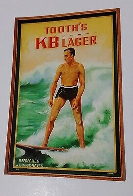TOOTH'S KB LAGER beer postcard REPRO of 1930's Surfing Advert - Not written on
