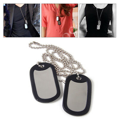 2pc Silver Matte Military Army Blank Pendant Dog Tag With Stainless Steel Chains