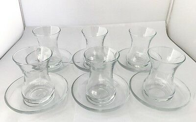 New 12 Pieces Traditional Turkish Tea Cup and Saucer Clear Glass Set 160ml