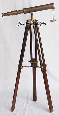"""Nautical Collectible Antique Brass Single Barrel 14"""" Telescope With Tripod Stand"""