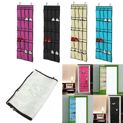 5 Tier Over The Door Hanging Hooks Wardrobe Organiser Shoe Toy Storage Pockets