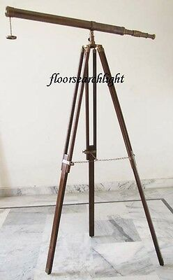 NAUTICAL ANTIQUE BRASS TELESCOPE SPYGLASS 155CM Ht. WITH WOODEN TRIPOD STAND