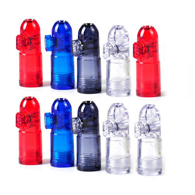 10x Clear Acrylic Snuff Bullet Rocket Box Dispenser Snorter Bottle Snuffer Sniff