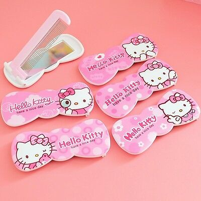2PC Hello kitty Bow shape Foldable Comb Mirror Girl Portable Cosmetic Makeup