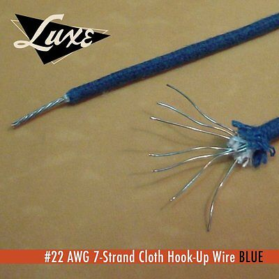 "LUXE RADIO BLUE 22 AWG 7 STRAND TINNED COPPER CLOTH COVERED WIRE - 12"" 30.48Cms"