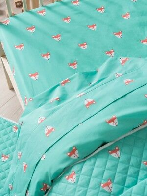 Hiccups Foxy Teal Cot Sheet Set
