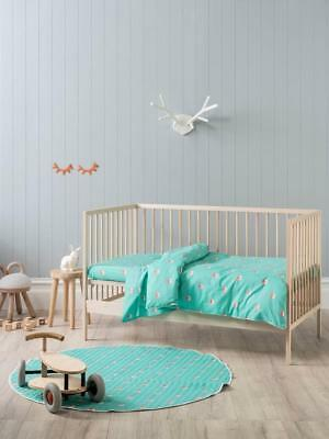 Hiccups Foxy Teal Cot Quilt Cover