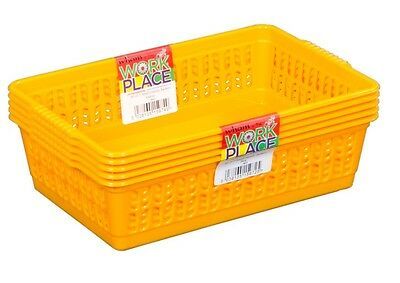 Set Of 5 Small Plastic Handy Storage Baskets Home DIY Tool Desk Tidy - Yellow