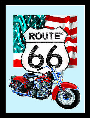 Route 66 Bike US Flag Nostalgia Bar Mirror Mirror Bar Mirror 8 11/16x12 5/8in