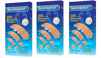200 Washproof Plasters Assorted Water Resistant Flexible First Aid Band Aid