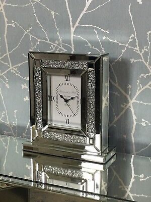 Sparkle Crushed Diamond Glitz Crystal Mirror Glass Freestanding Carriage Clock