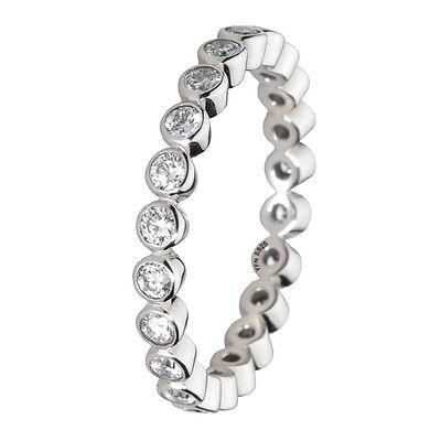 Stackable Ring 925 Solid Sterling Silver Clear Round Stone Eternity Band Size 10