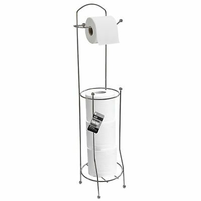 4 Roll Free Stand Toilet Paper Tissue Chrome Dispenser Storage Holder Bathroom