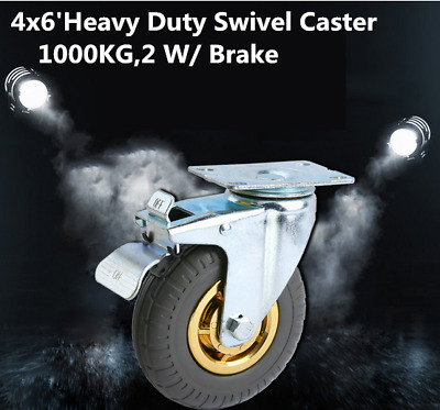 "4X 6"" / 150mm Heavy Duty Swivel Caster Wheels Castor 1000KG Load,2 with Brakes"