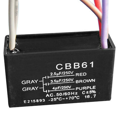 CBB61 Capacitor 2.5uF + 3.5uF + 4uF 50/60Hz 5 Wire 250VAC Ceiling Fan Capacitor