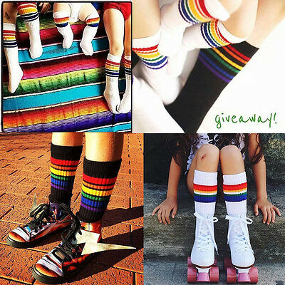 Kid Baby Girl Boy Rainbow Striped Knee High Stockings Cotton Soft Socks US Z