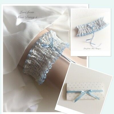 Bridal Garter Ivory Blue Lace Pearls Love from Miss Darcy Wedding Brides Hen