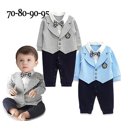 Infant Baby Boy Party Gentleman Clothes Romper Jumpsuit Bodysuit Outfit SuitZ