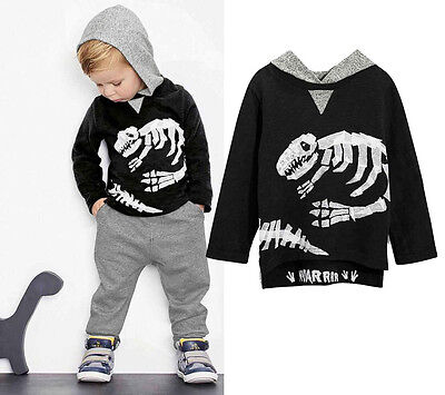 Kid Baby Boy Girl Hoodie Hooded T-shirt Top Clothes Jumper+ Long Pants Outfit Z