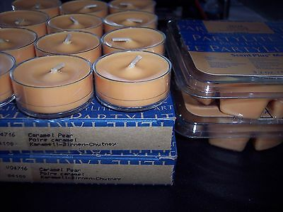 Partylite  Lot Of 2 Dozen Tealights, And 2 Packs Melts Caramel Pear Scent