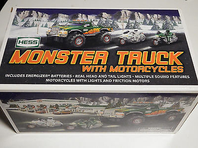 2007 HESS MONSTER TRUCK WITH MOTORCYCLES New in Box Never Opened