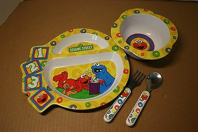 The First Years SESAME STREET Child Divided Melamine Plate Bowl Spoon Fork Set