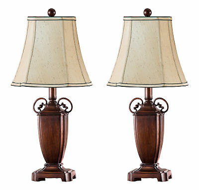 Kings Brand Antique Brushed Red With Light Brown Shade Table Lamps, Set of 2