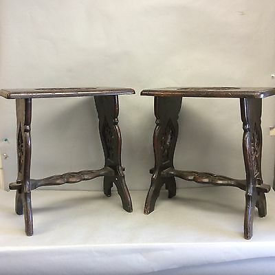 Pair English Joint Stools With Carved Alligators On Top