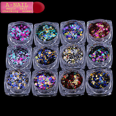 12jars/set Laser color Nail Art Glitter ROUND Shapes Confetti Sequins Acrylic Ti