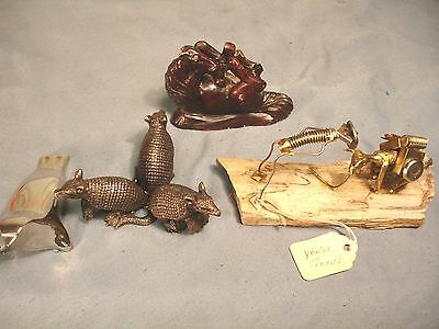 Vintage Paperweights Dansk Seal Carved Rock Horse Bronze Armadillo Nuts Bolts