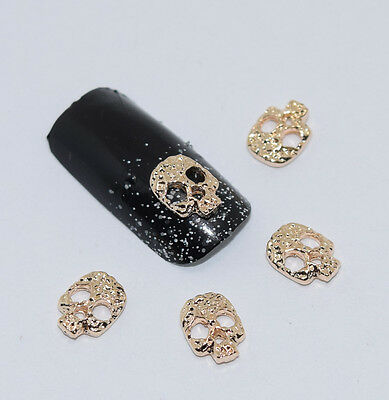 10psc New Golden Skull 3D Nail Art Decorations,Alloy Nail Charms,Nails Rhineston