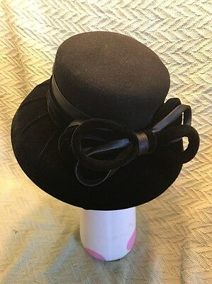August Wool Felt Velvet Lady Women Hat Church Wedding Black With Bow Derby